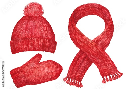 Fotografie, Obraz  Winter clothes. Wool cap, scarf and mittens. Watercolor.