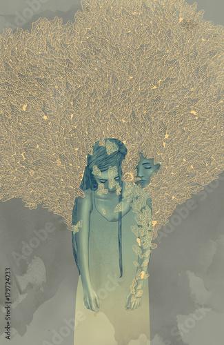 Staande foto Vlinders in Grunge Komorebi
