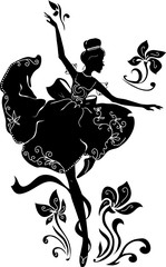 Panel Szklany Taniec / Balet Graphic silhouette of a ballerina woman. Isabelle series