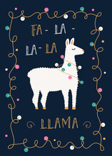 Christmas Or Winter Holidays Card With Llama And Festive Lights Garland