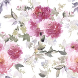 Seamless summer pattern with watercolor flowers handmade. - 179728296