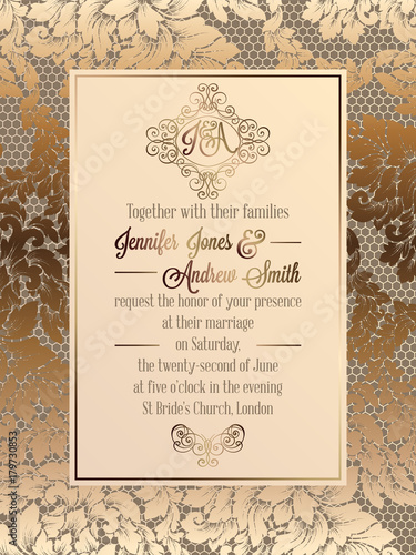 Fototapeta Vintage Baroque Style Wedding Invitation Card Template