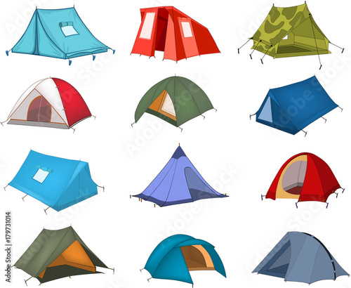 Wall Murals Baby room Illustration of a Tourist Tents