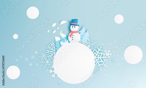 Foto op Canvas Lichtblauw Snowman and Winter landscape with paper art style and pastel color scheme