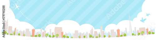 Poster de jardin Bleu clair Townscape back image illustration_skyline wide