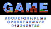 Vector Of Font And Alphabet Stylized On Old Video Game. Retro Style Font