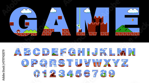 Vector of font and alphabet stylized on old video game Fototapet
