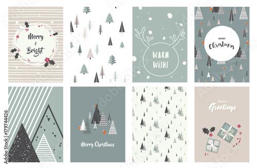 Wesołych kartek świątecznych, ilustracje i ikony, kolekcja projektowania liter - nr 1