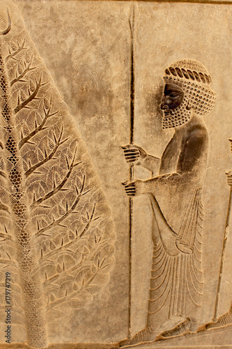 Poster Artistiek mon. Relief on a wall of the ancient city of Persepolis