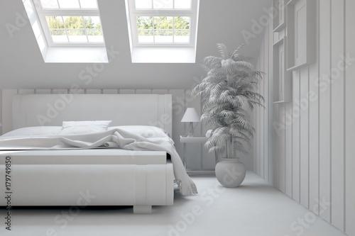 Fototapety, obrazy: Inspiration of white minimalist  bedroom with summer landscape in window. Scandinavian interior design. 3D illustration
