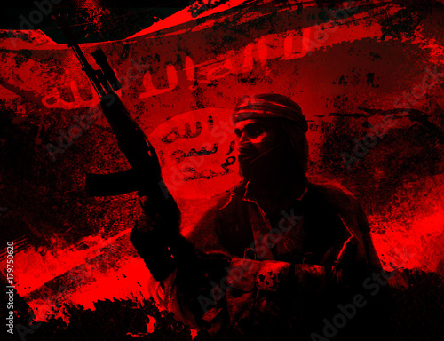 Fotografía  Silhouette of islamic soldier with rifle