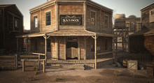 Western Town Saloon With Vario...