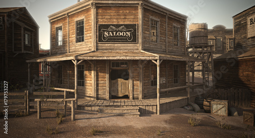 Fotografie, Obraz  Western town saloon with various businesses . 3d rendering