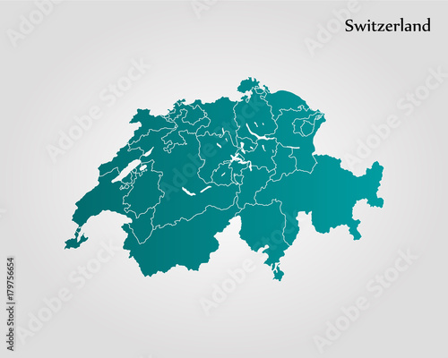 Map of Switzerland Wallpaper Mural