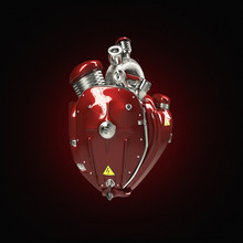 Diesel Punk Robot Techno Heart. Engine With Pipes, Radiators And Gloss Red Metal Hood Parts.  Isolated