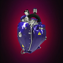 Diesel Punk Robot Techno Heart. Engine With Pipes, Radiators And Glossy Deep Blue Metal Hood Parts.  Isolated