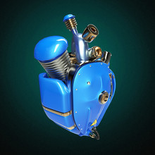 Diesel Punk Robot Techno Heart. Engine With Pipes, Radiators And Glossy Blue Metal Hood Parts. Isolated