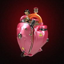 Diesel Punk Robot Techno Heart. Engine With Pipes, Radiators And Glossy Pink Metallic Hood Parts Isolated