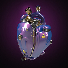 Diesel Punk Robot Techno Heart. Engine With Pipes, Radiators And Glossy Purple Metallic Car Paint Metal Hood Parts. Isolated