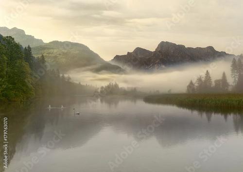 Montage in der Fensternische Honig Mist at the lake - Nebel am See