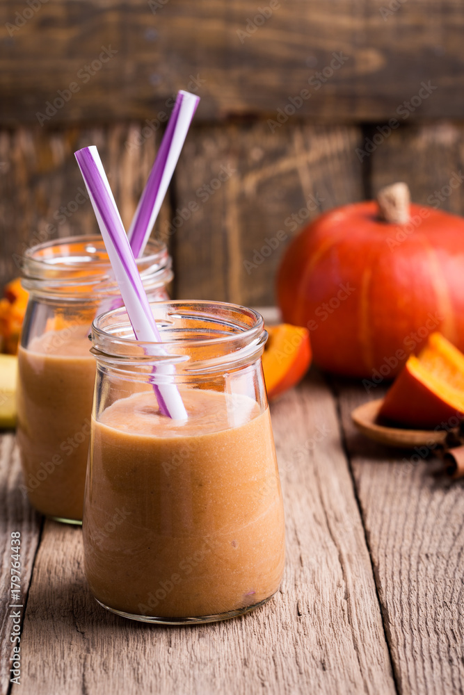 Photo  Pumpkin smoothie with yoghurt and bananas