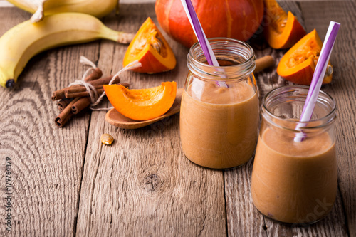 Pumpkin smoothie with yoghurt and bananas Poster