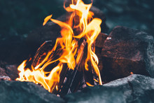Open Fire, Flames, Burning Of Firewood, Coals For Shish Kebab, Fire, Fire