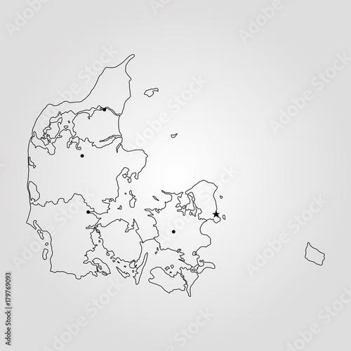 Photo  Map of Denmark