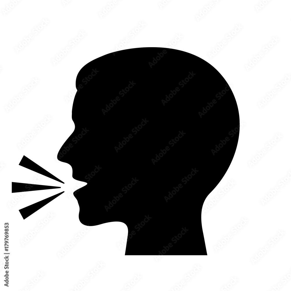 Fototapeta Man speaking vector silhouette