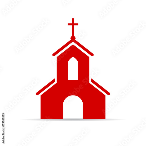 Red church vector sign Canvas Print