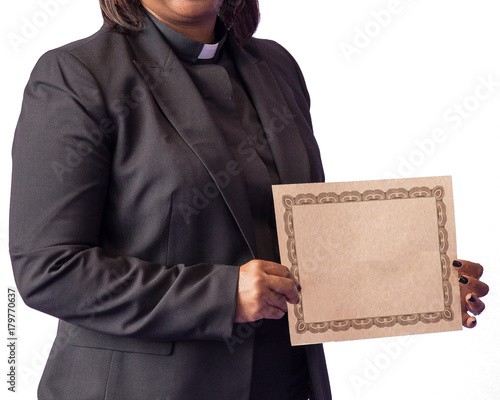 Fotografía Clergy holding certificate isolated on white background