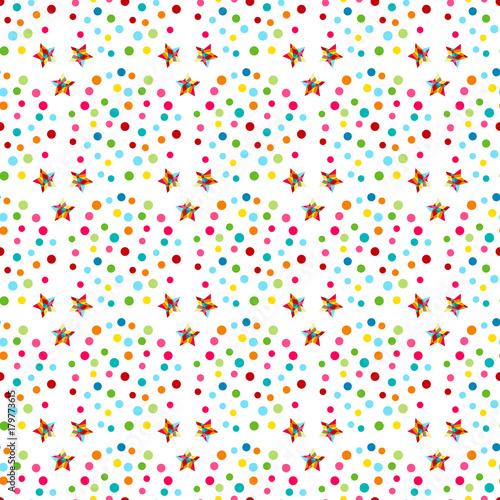 Colorful Christmas Background For Kids.Vector Carnaval Seamless Colorful Pattern For Kids Birthday
