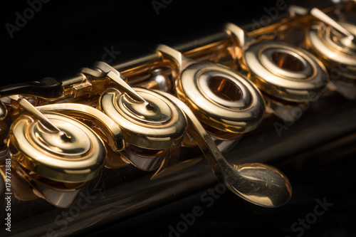 Leinwand Poster Details of a golden flute black background