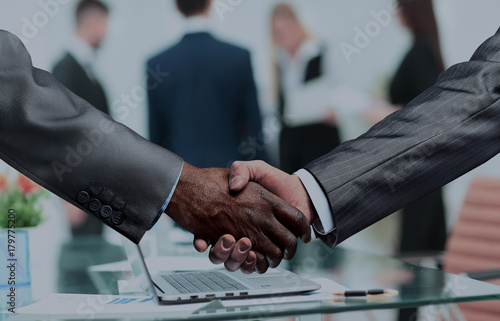 handshake of business partners.a successful and profitable agree Wallpaper Mural