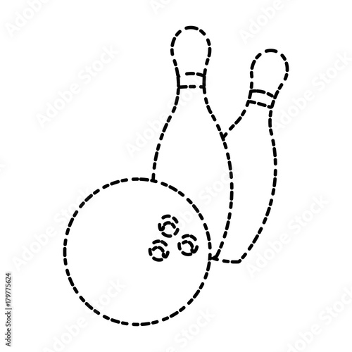 Bowling ball and pins icon vector illustration graphic