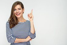 Smiling Woman Pointing Finger ...