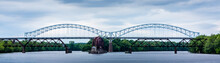 Through Arch  Bridge And Railroad Bridge