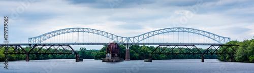 Photo Through Arch  Bridge and Railroad Bridge