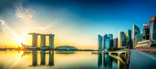Beautiful Sunrise At Marina Bay With A Panoramic View Of The Marina Bay Sands Hotel And The Skyline Of The Financial District In Singapore