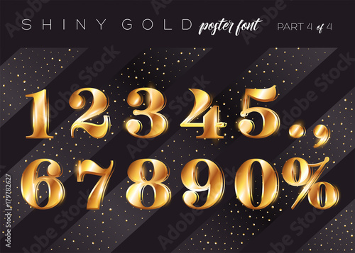realistic metallic typeface in gatsby style festive 3d letters for