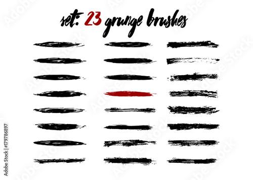 set grunge brushstroke dirty isolated paintbrush template brush