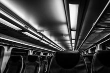Dover, NJ USA - November 1, 2017:  New Double-decker NJ Transit Train At Night With Empty Seats, Black And White