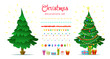 Christmas decoration set with isolated decorative winter objects - baubles, toys, gift boxes, garlands, christmas trees on white background. Flat style
