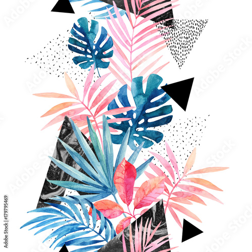 In de dag Grafische Prints Modern art illustration with tropical leaves, grunge, marbling textures, doodles, geometric, minimal elements.
