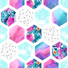 Watercolor Hexagon Seamless Pattern With Geometric Ornament Elements.