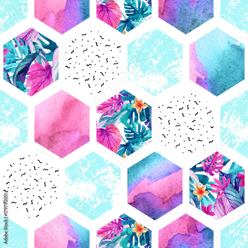 Fotoposter Grafische Prints Watercolor hexagon seamless pattern with geometric ornament elements.