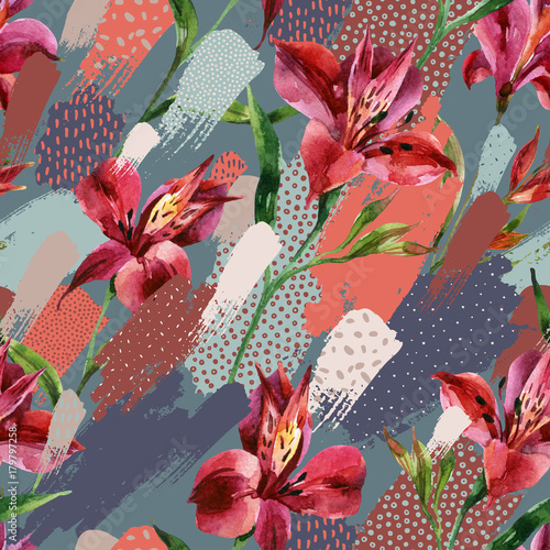 Photo sur Toile Empreintes Graphiques Watercolor decorative flowers seamless pattern on colored splatters with doodles background.