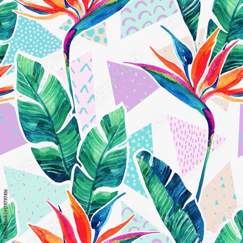 Photo sur Toile Empreintes Graphiques Watercolor tropical flowers on geometric background with doodles.