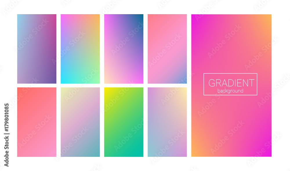 Fototapeta Screen gradient set with modern abstract backgrounds. Colorful fluid covers for calendar, brochure, invitation, cards. Trendy soft color. Template with screen gradient set for screens and mobile app