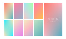 Screen Gradient Set With Modern Abstract Backgrounds. Colorful Fluid Covers For Calendar, Brochure, Invitation, Cards. Trendy Soft Color. Template With Screen Gradient Set For Screens And Mobile App